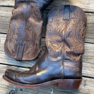 Lucchese Cowboy Boots Size 9EE Brown Mad Dog Goat